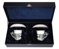 Набор серебряных кофейных чашек «Август-Октавиан» с блюдцами