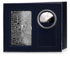 Набор серебряная визитница с рисунком и закладка для книг