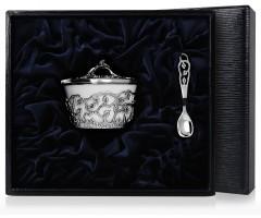 Серебряная солонка «Листопад» с чернением